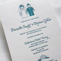 A fun lego themed wedding invitation with lego bridge and groom! For…