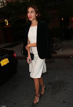 """""""Alexa Chung in NYC wearing a patterned dress, velvet blazer, Bionda Castana """"Carine"""" heels and accessories with a small black Chanel quilted bag. Daily Alexa Chung, Alexa Chung Style, French Capsule Wardrobe, Black Velvet Jacket, Girl Fashion, Fashion Outfits, Ootd, Trends, Fashion Images"""
