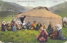 Kazakh family near yurt. On a wedding day. Altai region.