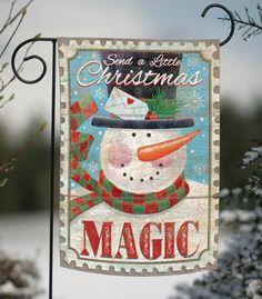 NEW Toland - Magic Snowman - Christmas Winter Scarf Stamp Garden Flag #TolandHomeGarden