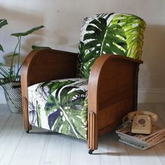 1920s British Made art deco club armchair, reupholstered in Christian Lacroix Jardin Exo'chic botanical jungle velvet