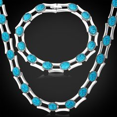 18K Real Gold Plated Copper Turquoise Fashion Jewelry Wholesale New Trendy Necklace/Bracelet Jewelry Set For Women/Men Gift