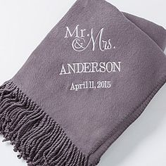 Create lasting Wedding memories with the Personalized Wedding & Anniversary Throw Blankets - Charcoal Grey. Find the best personalized wedding gifts at PersonalizationMall.com