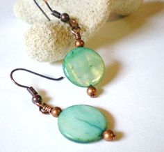 Aqua Green Shell Coin Beads and Copper Accents Earrings   JewelryArtByDawn - Jewelry on ArtFire