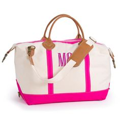 Personalized Pink Trimmed Weekender