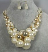 Chunky Gold Tone & Pearl Bead Necklace Set