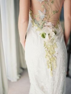 Papillon illusion back embroidered butterfly and floral couture Wedding Dress by Claire Pettibone