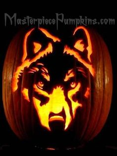Moonlit cat pumpkin carving many more examples on the website wolf pumpkin by megan granata pronofoot35fo Choice Image