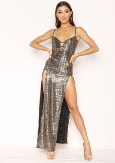 09618d1773 Missyempire - Hilary Gold Sequin Split Maxi Dress Gold Strappy Heels