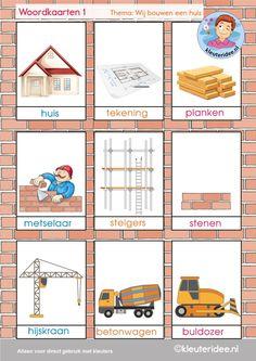 Woordkaarten 1, thema 'wij bouwen een huis', kleuteridee, free printable.
