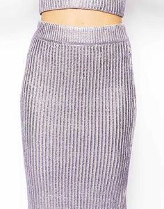 ASOS Premium Knitted Skirt In Foil Print With Zip detail