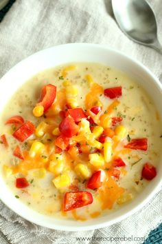 Quinoa Corn chowder. It's thick, creamy, hearty, and goes perfectly with freshly baked bread. It's even healthy.  really healthy
