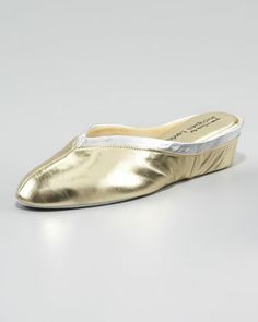 Spanish Leather Wedge Mule, Gold/Silver by Jacques Levine at Neiman Marcus.  My mom wore these for as long as I can remember!