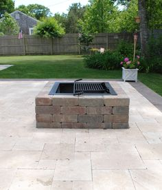 concrete patio with square fire pit.  Fire Square Fire Pit Kit  Modular Stone Pits In Concrete Patio With B