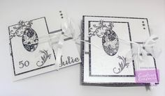 """Carole Davis - 8x8 Boxed 50th Birthday card - Crafter's Companion Sara Davies Butterfly Lullaby Signature Collection: Filigree Frame embossing folder, Oval 3D Butterfly Die, Fancy Flourishes dies - Crafter's Companion A3 double sided Indulgence card - Centura Pearl Hint of Silver - Die'sire 1"""" Decorative Alphabet and Numbers - #crafterscompanion"""