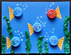 fish project. Photo instructions, plus make a bottle cap flower. Art activity for kindergarten, #preschool, ocean art project, Apologia Swimming Creatures