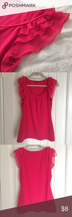 Bright Pink Shirt w/ Ruffles on Shoulders Ruffles on shoulders make this hot pink shirt so pretty! Can make any outfit bright and cheery. Very comfy and soft material. Express Tops Tees - Short Sleeve