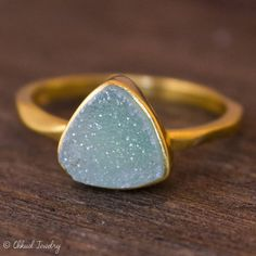Gold Turquoise Druzy Ring Pyramid Ring Winter Blues by OhKuol