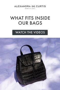 Are you looking for a designer leather handbag? Click through to watch our videos and see what fits inside our leather handbags! Alexandra de Curtis #italianhandbags Italian Leather Handbags, Designer Leather Handbags, Black Leather Handbags, Crossbody Saddle Bag, Small Crossbody Bag, Italian Street, Barrel Bag, Leather Backpacks, How To Make Handbags