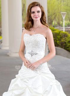 Ball-Gown Sweetheart Chapel Train Satin Wedding Dress With Ruffle Lace Beading (002000432) - JJsHouse