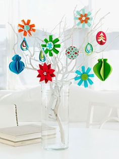 Out on a Limb - Flex your tree-trimming skills by dangling a selection of colorful ornaments on branches in a vase.