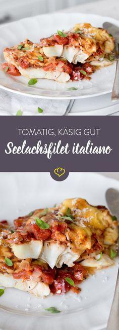 Schnell und einfach kommt er daher, der Seelachs mit Tomaten-Käse-Haube aus dem Backofen. Besonders im Hochsommer ein leichtes Abendessen!