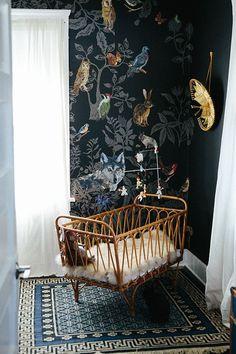 Modern Boys Nursery with Fun Wallpaper #nursery #wallpaper #bohemian
