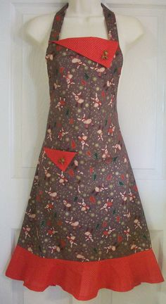 Retro Christmas Apron / Reindeer Stars Christmas by Eclectasie, $35.00