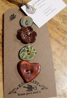 Set+of+four+handmade+ceramic+buttons+heart+by+TheImpatientPotter,+$15.00