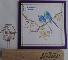 Een prachtige stempel van Penny Black. Ingekleurd met markers van Stampmania. Erover heen geademd en afgedrukt op glossy foto papier.