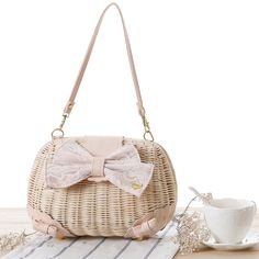 rattan 2013 liz lisa bag pu lace bow straw bag