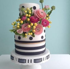 Black and White Polka Dot and Stripe Cake With Sugar Ranunculus - Cake by Alex Narramore (The Mischief Maker)