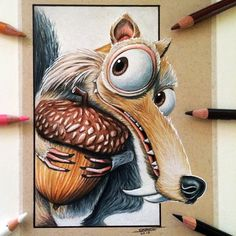 Scrat Drawing - Ice Age Fan Art by LethalChris on DeviantArt - Drawing Still 2020 Cool Art Drawings, Pencil Art Drawings, Realistic Drawings, Art Drawings Sketches, Colorful Drawings, Disney Drawings, Cartoon Drawings, Animal Drawings, Cartoon Art
