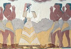Photograph:The detail of a Knossos palace fresco probably illustrates a royal procession.