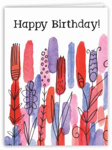 Silhouette Design Store - View Design #78322: watercolor garden happy birthday card
