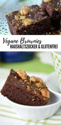 Brownies: vegan, haushaltszuckerfrei und glutenfrei. Mit Kichererbsenmehl und Nüssen.