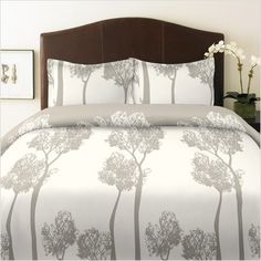 like the trees--would really work with the fan in the master bed. Light color works great with dark walls.