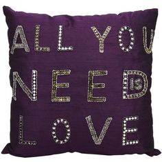 Mina Victory Luminescence All You Need Is Love Purple Throw Pillow (16 KWD) ❤ liked on Polyvore featuring home, home decor, throw pillows, pillows, decor, extra, purple, square throw pillows, purple toss pillows and patterned throw pillows