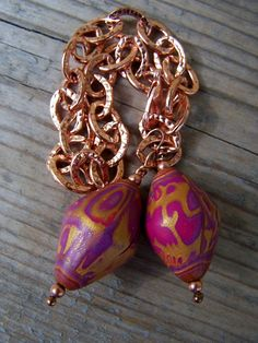 Copper and Artisan Polymer Clay Chunky by gristmilldesigns on Etsy, $18.95