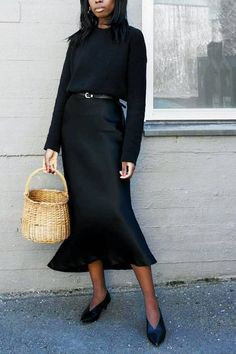 A jumper and slip skirt is the easiest outfit formula we're wearing on repeat this season. See our favourite looks here. Slip Dress Outfit, Black Slip Dress, Winter Dress Outfits, Dressy Outfits, Simple Outfits, Fashion Outfits, Slip Dresses, Fashion Skirts, Black Outfits