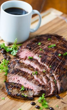 Coffe and Soy Marinated Flank Steak. Who would have thought coffee makes such a great marinade addition?