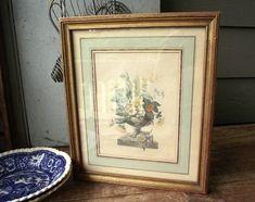Vintage Framed Floral Print by The Medici Society Inc. | Etsy Product Offering, Vintage Frames, Floral Prints, Etsy, Floral Patterns, Vintage Borders, Flower Prints