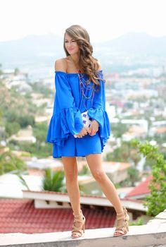 blue off shoulder dress…