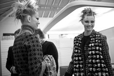 """Behind The Scenes. Making Of The Chanel Fall/Winter 2015-2016 Ready-To-Wear Ad Campaign. Photographed By: Karl Lagerfeld. Models: Anna Ewers. Lindsey Wixson. """"The French Collection"""""""
