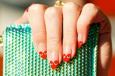Really not into nail art but these Comme des Garcons Play Nails by ebmonson are too cool. Heart Nail Art, Heart Nails, Red Nails, Hair And Nails, Cute Nails, Pretty Nails, Nail Polish, Manicure Y Pedicure, Cool Nail Art