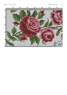 Cross Stitch Designs, Cross Stitch Patterns, Crochet Patterns, Cross Stitch Rose, Cross Stitch Embroidery, Bead Crochet, Rose Bouquet, Diy Flowers, Embroidery Designs