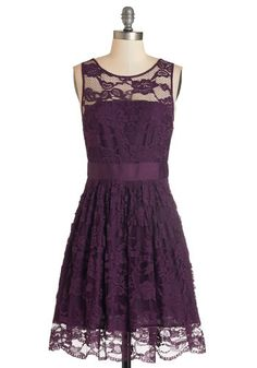 When the Night Comes Dress in Plum by BB Dakota - Solid, A-line, Sleeveless, Exclusives, Variation, Purple, Special Occasion, Party, Homecoming, Lace, Lace, Wedding, Bridesmaid, Valentine's, Fall, Woven