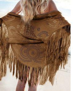 Women Kimono Long Fringes Tassels Coffee Faux Suede Leather Cut Cardigan Jacket