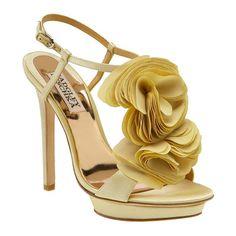 Badgley Mischka 'Randi' Sandal ($75) ❤ liked on Polyvore featuring shoes, sandals, heels, scarpe, zapatos, sandals/slides, women, satin shoes, platform heel sandals and purple platform shoes