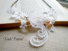 Lace necklace,White lace Statement necklace - bib necklace